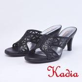 kadia.優雅水鑽透膚網紗拼接高跟涼拖鞋(9111-95黑色)