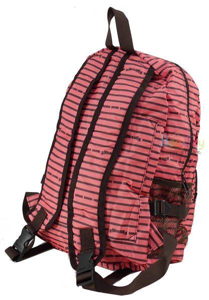 HAPI+TAS 摺疊後背包 - 粉色橫條蝴蝶結