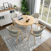 桌椅組合簡約接待洽談會客辦公室休閒桌椅組合咖啡廳奶茶店小戶型圓形餐桌LX