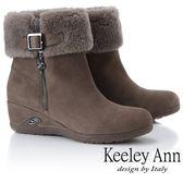 ★2018秋冬★Keeley Ann暖心冬季~反折絨毛楔型感短靴(卡其色)