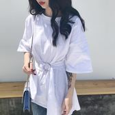 打底衫T恤女韓版2019新款春裝不規則寬鬆中長款素色上衣配腰帶 【爆款特賣】