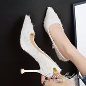 網紅少女小清新高跟鞋女秋季個性蕾絲尖頭淺口細跟女單鞋 果果輕時尚