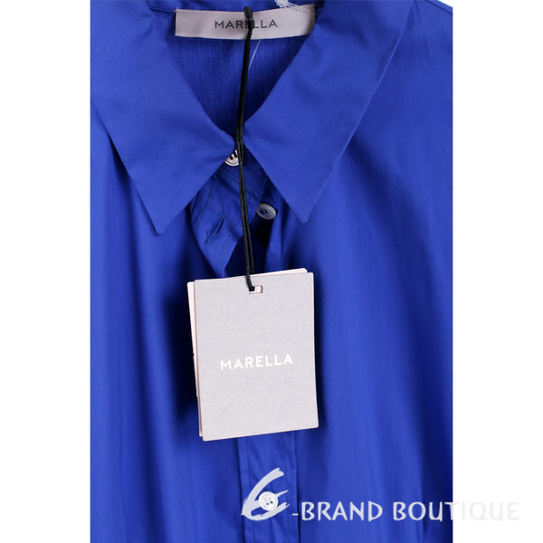 MARELLA 藍色襯衫式綁帶短袖洋裝 1620503-23