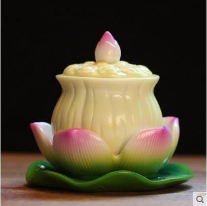 陶瓷蓮花聖水杯佛前供水杯佛教用品供佛杯供具觀音淨水杯