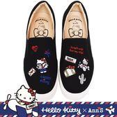HELLO KITTY X Ann'S一起去旅行小配件刺繡厚底懶人鞋-黑