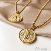 鍍金項鍊 可沾水  鈦鋼鍍金 雙面浮雕 50比索金幣紀念錢幣