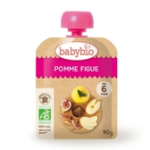 BABYBIO 有機蘋果無花果纖果泥90g-法國原裝進口6個月以上嬰幼兒專屬副食品