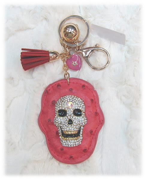 【波克貓哈日網】日本吊飾鑰匙圈◇皮雕鑲鑽骷髏◇《桃紅色》