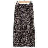秋冬8折[H2O]彈性針織布前中開衩顯瘦直筒長裙 - 豹紋色 #9652018