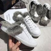 網紅同款包頭半拖鞋女歐美繫帶兔毛小白鞋休閒平底懶人穆勒鞋 新年免運特惠