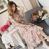 大尺碼 休閒裙 洋裝 2019夏韓版大尺碼女裝喇叭袖碎花雪紡長裙女荷葉邊收腰冷淡風連衣裙