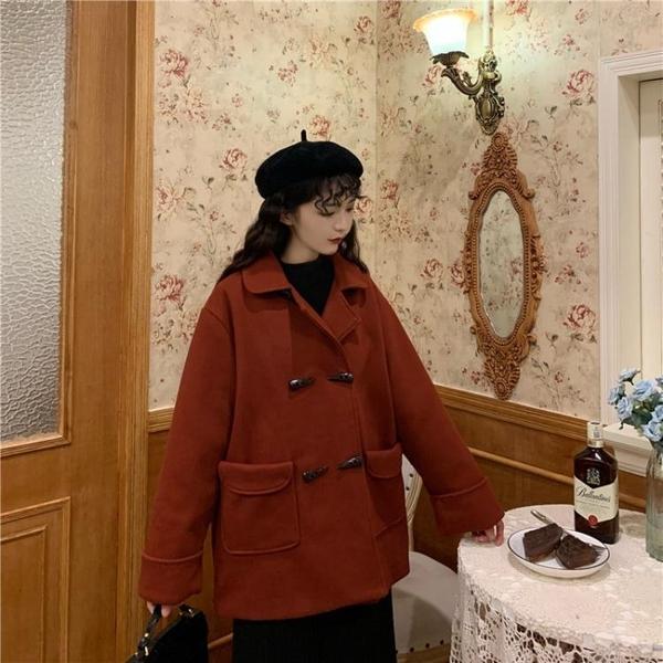 秋冬上新大碼女裝2020新款韓版寬松短款加厚毛呢外套女秋冬胖mm大碼牛角扣呢子大衣
