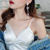 925銀針珍珠耳釘雪花耳墜長款流蘇耳環女氣質韓國個性百搭耳飾  時尚潮流
