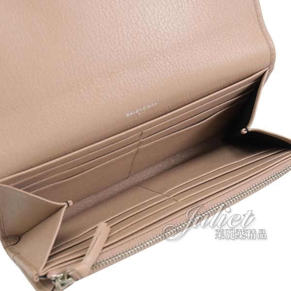 茱麗葉精品【全新現貨】巴黎世家 390184 燙銀LOGO山羊皮扣式長夾.裸粉色
