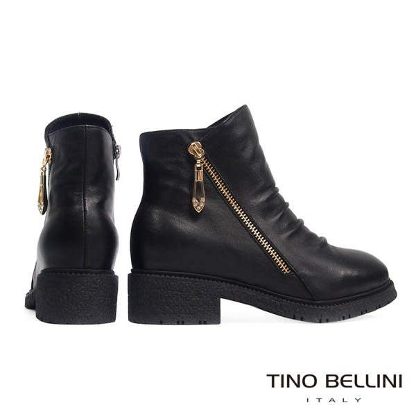 Tino Bellini全真皮抓皺側V切口拉鍊低跟短靴(黑)_CL2219 2015AW