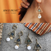 耳環 Space Picnic|三角幾何垂墜串珠耳環(預購)【C19052011】