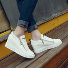女生韓版坡跟內增高休閒鞋DL9267『黑色妹妹』