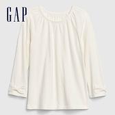 Gap女幼童 簡約風格純色插肩袖長袖T恤 614900-象牙白