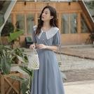 洋裝泡泡袖連身裙S-XL氣質法式初戀茶歇娃娃領泡泡袖連身裙女夏1635 2F-E247-D 韓依紡