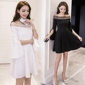 洋裝 長袖一字領 韓版 婚禮小禮服 韓版 派對連身裙 花漾小姐【預購】
