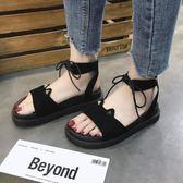 涼鞋女夏 平底涼鞋新款女韓版絨面厚底中跟露趾學生涼鞋女潮   芊惠衣屋