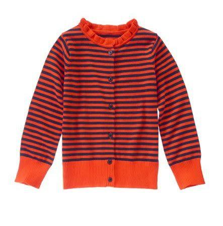 GYMBOREE外套 深藍條紋圖案橘色荷葉領設計款開襟外套