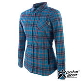 PolarStar 刷毛格子保暖衣 女 灰藍 P14210