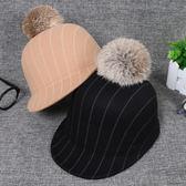 親子兒童馬術帽秋冬天男童女童毛呢鴨舌帽韓版母女條紋禮帽潮帽子