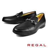 【REGAL】金屬釦環樂福鞋 黑色(T96A-BL)