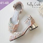 大尺碼女鞋-凱莉密碼-復古亞麻千鳥格紋方頭瑪麗珍低跟涼鞋4cm(41-48)【GR86-5】粉色