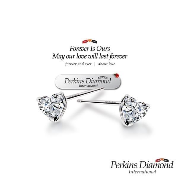 【南紡購物中心】PERKINS 伯金仕 Heart Sounds系列 鑽石耳環