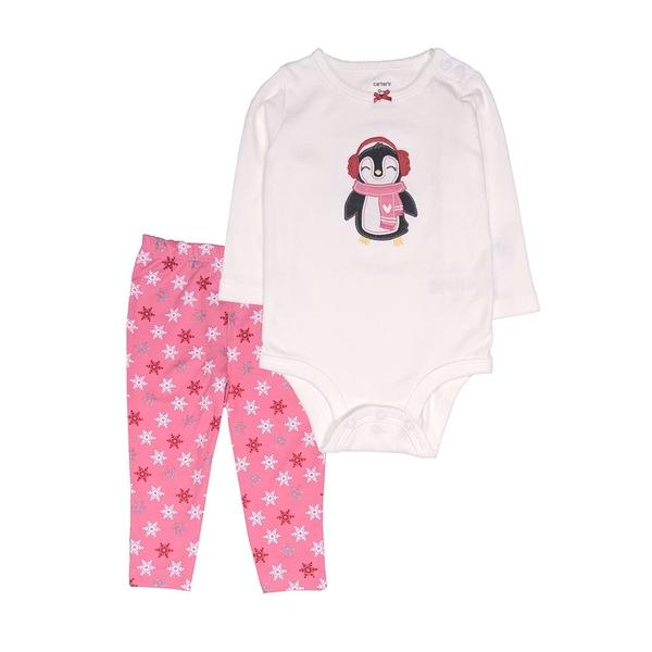 女寶寶套裝二件組 肩扣式包屁衣+長褲 白企鵝 | Carter s卡特童裝 (嬰幼兒/兒童/小孩)