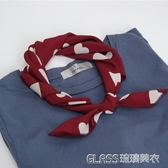 韓版甜美復古酒紅米白愛心圖案小方巾韓版絲絲巾圍巾女     琉璃美衣
