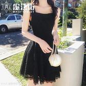 時尚吊帶鏤空蕾絲連衣裙女夏背帶裙子 魔法街