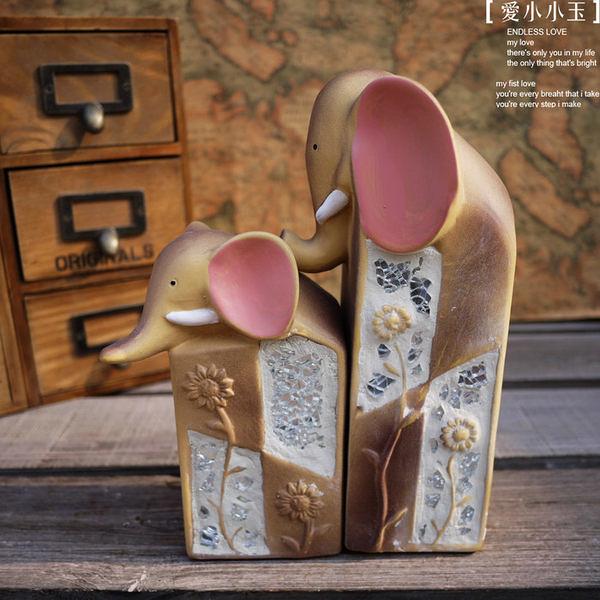 【彩晶:小象組合】美式鄉村田園陶瓷擺件2個組
