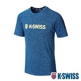 K-SWISS Whs Basic Logo Tee排汗T恤-男-藍