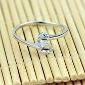 925純銀戒指-雙鑽精緻生日情人節禮物女飾品73af26【巴黎精品】