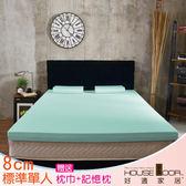 House Door 大和布套 8cm乳膠記憶床墊優眠組-單人3尺(水湖藍)