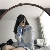 古著個性重工扎染長袖T恤女秋寬鬆上衣【小酒窩服飾】