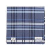 Calvin Klein 交錯格紋紳士純棉帕巾(幼藍)989091-252