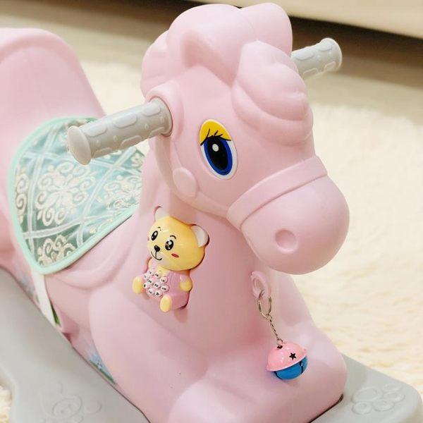 搖搖馬塑膠兒童玩具木馬寶寶1-2一周歲生日小禮物嬰兒帶音樂馬車jy【星時代女王】