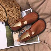 夏季新款森系單鞋女鞋圓頭文藝復古擦色舒適平跟鞋娃娃鞋大頭鞋   莉卡嚴選