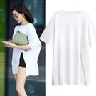 長款上衣 白色上衣女夏短袖寬鬆中長款正韓側開叉大碼體恤純棉上衣-Ballet朵朵
