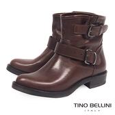 Tino Bellini義大利進口全真皮雙釦帶低跟短靴_咖 B69021 歐洲進口