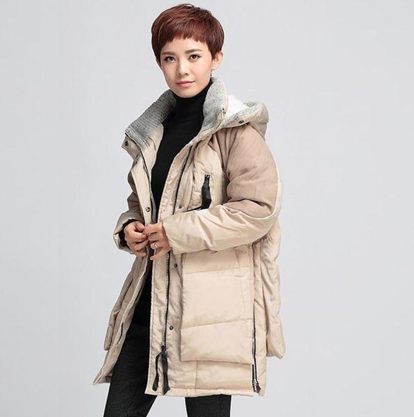 卡樂store...高檔寬鬆 拉鍊口袋連帽長款羽絨外套 保暖 2色 米色 M-XL #of506