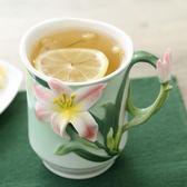 水杯 3D立體陶瓷杯 創意馬克杯咖啡牛奶早餐杯 手繪花茶杯子WZ3242 【潘小丫女鞋】