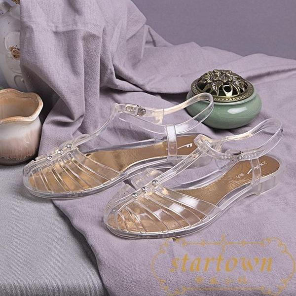 涼鞋女夏時裝平底鞋包頭透明水晶鞋【繁星小鎮】