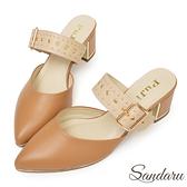 訂製鞋 全真皮可調式鉚釘釦尖頭穆勒鞋-駝色下單區