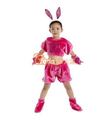 熊孩子☃兒童成人動物表演服裝動物連體服小雞猴兔牛狗貓狼鼠演出服(紅色 毛絨兔)