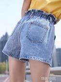 松緊腰寬管牛仔短褲女高腰2020新款韓版寬松顯瘦學生a字花苞熱褲